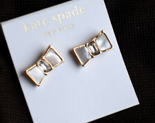 "Kate Spade BEAU EARRINGS ""BOW SHOPPE"" GOLD MOTHER OF PEARL BRIDAL SHELL NWT"
