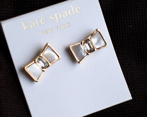 """Kate Spade BEAU EARRINGS """"BOW SHOPPE"""" GOLD MOTHER OF PEARL BRIDAL SHELL NWT"""