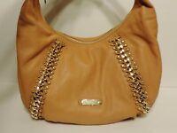 New Nwt Michael Kors Id Chain Studded leather peanut shoulder bag satchel purse