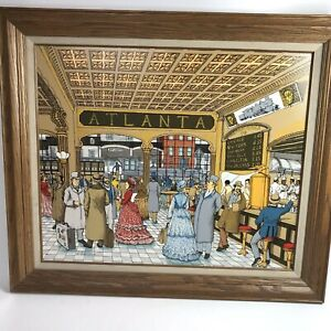 H. Hargrove Original Oil Painting Atlanta Train Station Framed Collectors corner