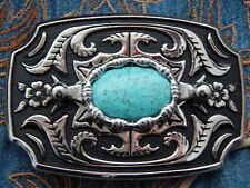 NUOVO REALIZZATO ARTIGIANALMENTE nel Regno Unito Nuovo Cintura Fibbia Metallo Argento Colore Turchese, WESTERN
