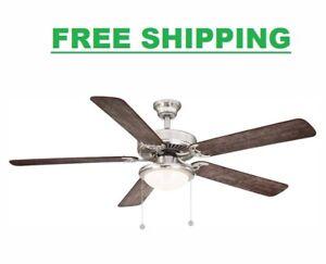 56 in. Indoor Ceiling Fan Light  Brushed Nickel Reversible Blade