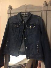 Earl Jean Women's Sz LG Jean Jacket Denim Rhinestone Embellishe