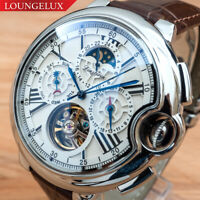 Mens Silver Chrome Flywheel Skeleton Automatic Mechanical Wrist Watch Silver