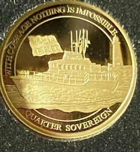 2021 RNLI LIFEBOAT 22ct GOLD Proof Quarter SOVEREIGN Coin With Capsule & COA