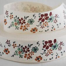 Retro Cotton Fabric Ribbon Sewing Label Vintage Flower