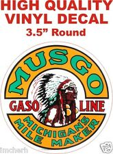 Vintage Style Musgo Gasoline Michigan Mile Maker Gas Pump Decal - The Best