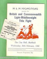 #D86. BOXING PROGRAM - 1982 BRITISH & COMM. LIGHT MIDDLE.  TITLE