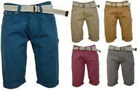 Hommes Short Chino Avec Gratuit Ceinture Toile Pantalon Coton Rouleau Jambe Été