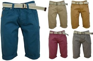 Mens Chino Shorts with Free Canvas Belt Cotton Trousers Roll Leg Summer Pants