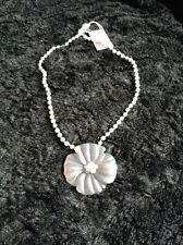 Lola Rose Matt Grey Agate Flower Necklace - New