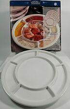 Trudeau White Stoneware Round Fondue Plates ~ Set of 4 ~ 082-504