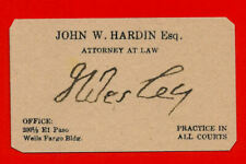 John Wesley Hardin Autograph & Business Card Reprint On 100 Year Old Card