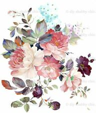 Furniture Decal Image Transfer Beautiful Painted Flowers Upcycle Shabby Chic DIY