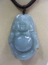 "Handcrafted knot work cord adjustable jade carved ""laughing buddha"" necklace"
