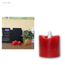 3er Set LED Echtwachs Kerzen ROT 55x45mm, flammenlose Wachs Kerze Wax Candle red