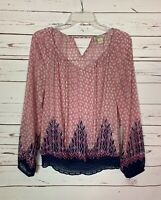 Lucky Brand Women's S Small Pink Navy Sheer Long Sleeve Cute Top Blouse Shirt