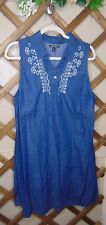 Allison Brittany (Xl) Summer Sleeveless Denim Embroidered Dress