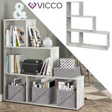 VICCO Treppenregal ASYM Beton 4 Fächer Raumteiler Regal Bücherregal Standregal
