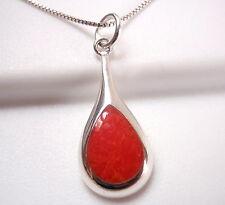 Red Coral Teardrop of Silver 925 Sterling Silver Pendant Corona Sun