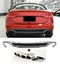 Für Audi A4 B8 8K RS4 S-Line S4 Look Stoßstange Facelift Diffusor + Endrohre *65