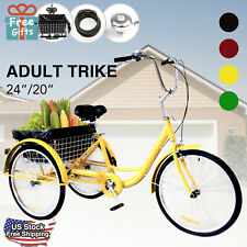 Adult Tricycle Trike 3-Wheel Cruise Bike with Basket Liner, Lock & Bell 24