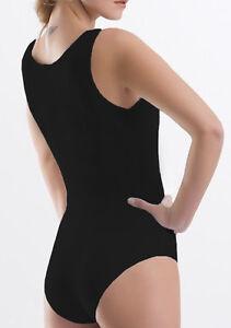 Womens Black Sleeveless Built Up Wide * Strap Vest Bodysuit Gym Dance Leotard