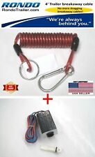 Trailer breakaway cable & 12V break away switch. Coiled cable won't drag!
