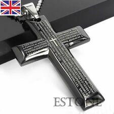 Unisex Da Uomo Acciaio Inox Pendente A Croce Nero In Argento Bibbia Collana