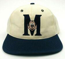 "Vtg 1990s Mickey Mouse Hat Mickey Face ""M"" Logo White & Blue Snapback Cap NEW"