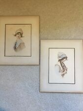 Pair Antique 1890's Watercolors ladies in period dress hats unsigned wonderful!