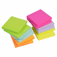 """12 x Blocks of 100 Neon & Pastel 3"""" Colour Sticky Note Pad Notes 1200 Total Memo"""