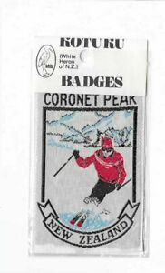 VINTAGE CORONET PEAK NZ EMBROIDERED SOUVENIR PATCH WOVEN CLOTH SEW-ON BADGE