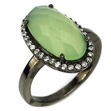 Ring Chalcedony . Silver 925 rhodium black