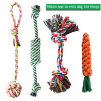 5PC Dog Teddy Chew Knot Toys Pet Puppy Teeth Bear Braided Tough Strong Rope