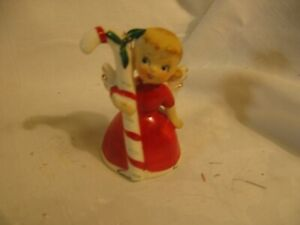 """vintage Japan 3"""" Christmas angel bell ornament Adorable ! with candy cane"""
