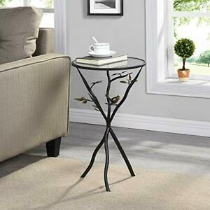 Multi Use Table,Aged Bronze Bird & Branches, Glass Top,Metal Base, Lightweight
