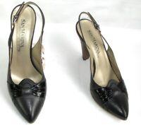 SAN MARINA Sandales à talons 10 cm cuir gris et noir 38 TRES BON ETAT