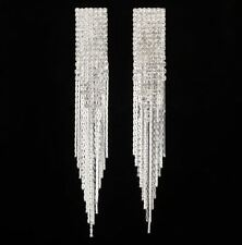 Silver Shining Square Long Tassel Clear Crystal Bridal Hanging Earrings Jewelry