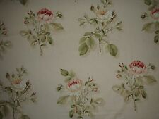 "SANDERSON CURTAIN FABRIC DESIGN ""English Rose"" 4.9 METRES RED/SAND 100% COTTON"