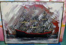 "Vtg Mid Century Art Vanguard Studios Signed Oil on Canvas Painting Ship 49""x37"""