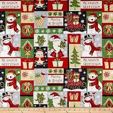 Christmas Fabric - Winter Greetings Santa Snowman Bear Patch - StudioE YARD