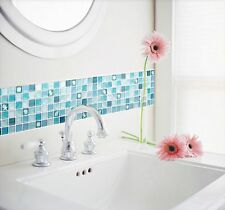 Home Bathroom Kitchen Wall Decor Stickers Peel and Stick 2 Sheet Blue Backsplash