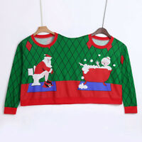 Two Person Sweater Unisex Couples Pullover Novelty Christmas Blouse Top Shirt