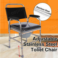 Shower Toilet Bathroom Commode Chair Foldable Height Adjust Stainless Steel