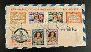 1947 Franklin Roosevelt San Marino FDC Airmail Cover