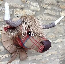 Handmade highland cow faux taxidermy red tweed fabric wall mounted animal head