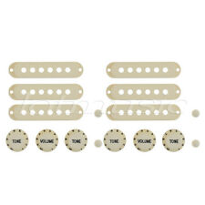 2 Sets Strat Style Guitar Single Coil Pickup Cover With Knobs Switch Tip Ivory