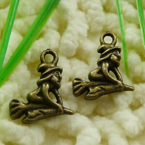 240 Pcs Bronze Plated Broom Star Witch Charms 18X14MM S1383 DIY Jewelry Making