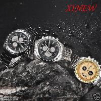Luxury Men's Stainless Steel Date Military Sport Quartz Chronograph Wrist Watch